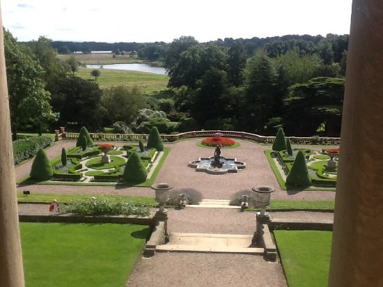 Knutsford, UK: View of garden from upstairs in mansion