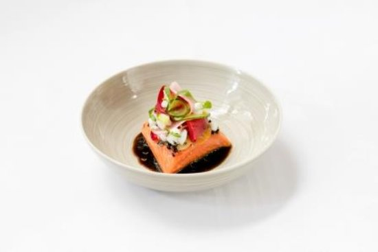 O'Connell St Bistro: Ora King Salmon, Spanner Crab, fragrant Eggplant & Garlic shoots