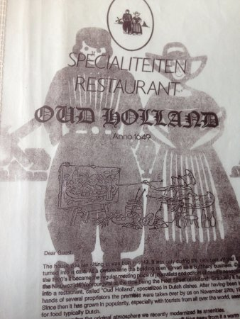 Oud Holland: Info page on Menu