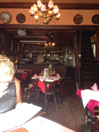 Oud Holland: Inside view of the restaurant. Washrooms are up the steep steps.