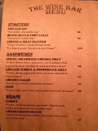"""ดีเคเตอร์, อินเดียน่า: Premier Golf's """"The Wine Bar"""" Menu"""