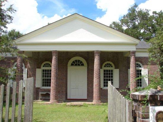 McClellanville, SC: Entrance w/brick columns