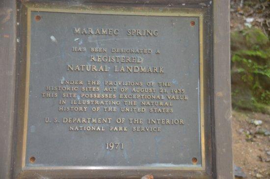 Saint James, MO: A plaque next to the actual spring.