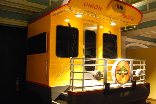Union Pacific Railroad Museum: Visitors can have their photo taken standing on a rail car platform.
