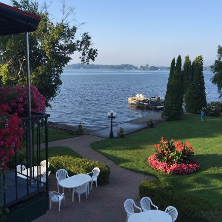 The Gananoque Inn and Spa: View from the dining deck outside the dining room.