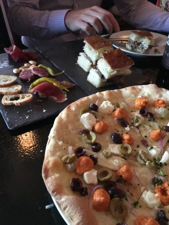 Preservation Bread and Wine : Charcuterie plate, focaccia & lamb sandwiches, and flatbread