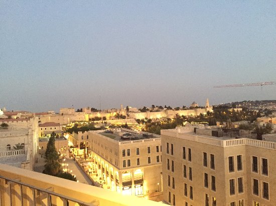 Mamilla Hotel: View from the rooftop bar in the early evening