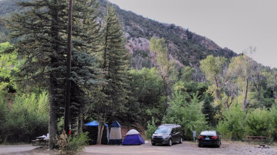 New Castle, Kolorado: My camping setup- site #51's backdrop is incredible...at least compared to where I come from!