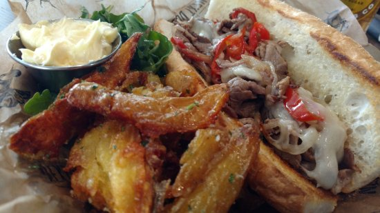 Glendale, CO: Philly cheesteak with crushed potatoes