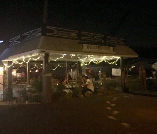 Ossining, NY: Outside eating lit up at night...