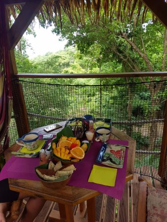 Vieux-Habitants, Guadeloupe: Terrasse de la cabane où nous avons petit déjeuné