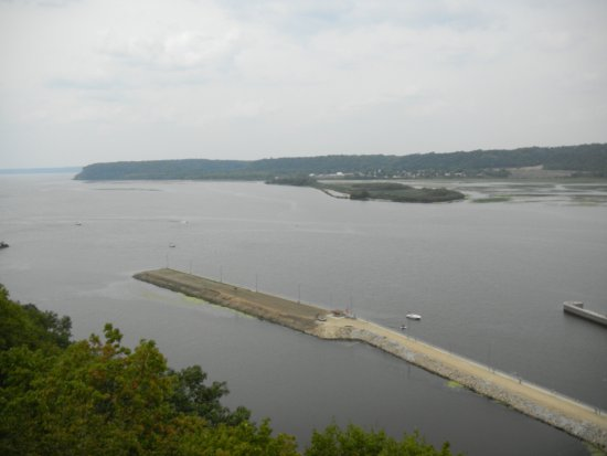 Dubuque, IA: A view from the bluff looking up the Mississippi River.