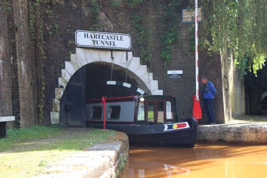 Trent and Mersey Canal: Boat emerging....