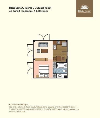Rcg Floorplan 10 Tower J Studio Room 45 Sqm 1 Bedroom 1 Bathroom Foto De Rcg Suites Pattaya Tripadvisor