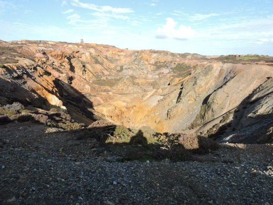 Amlwch Copper Kingdom: View of Parys Mountain - a big hole in the ground!