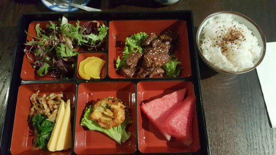 Kushi Japanese Dining: value for money set lunch. Beef ribs set.