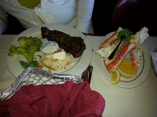 West Coxsackie, NY: King Crab, Steak, Broccoli, Mashed Potatoes