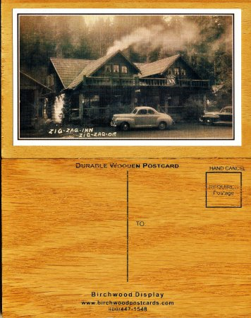 wood postcards front and back of old zigzag inn picture of zig zag