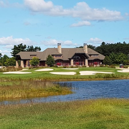 Michigan: Clubhouse from Hole 9 Forest Dunes Course