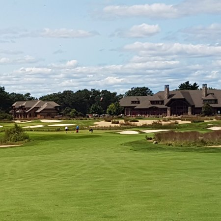 Michigan: Clubhouse from Hole 18 Forest Dunes Course