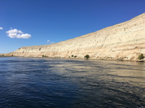 Richland, WA: View of the White Bluffs in the Hanford Reach from the boat