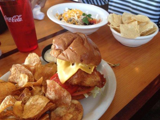Matty B's Mountainside Cafe: Overdone fish + plastic chips tortillaless tortilla