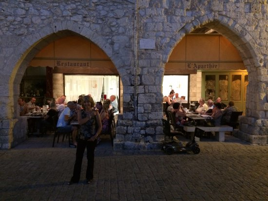 In the square of the Bastide town of Eymet - seating outside or inside the restaurant.