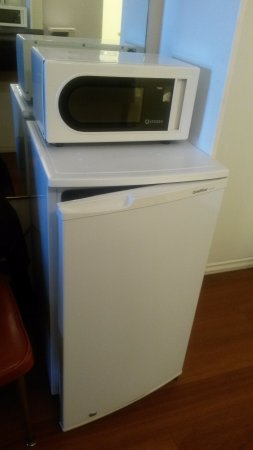 Sicamous, Canada : Холодильник и микроволновка.