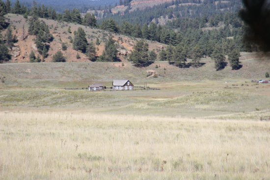 Florissant, CO: a view of the homestead from the visitors center