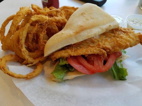 Medford, MA: Haddock sandwich, onion rings
