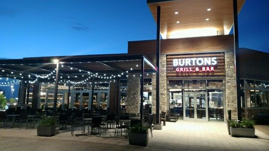 Beautiful night time shot of Burtons Grill
