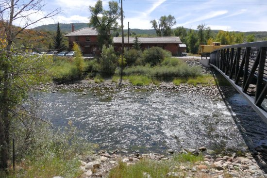 Yampa River Core Trail: The Depot Art Center, Yampa River in foreground.