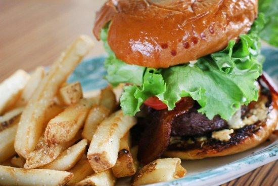 "Madrona Bar & Grill: ""The Overseer Burger"" American Kobe Style Beef - Half-pound local Okanogan Wagyu beef, pecan smo"
