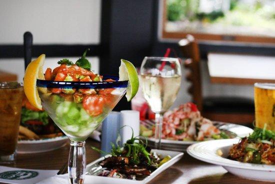 Madrona Bar & Grill: Prawn & Avocado Margarita with Fireworks Cocktail - Prawns and fresh avocado tossed with Wasabi