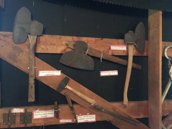 Ancient axes and tools at the Sheguiandah museum