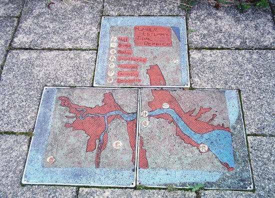 Barton-upon-Humber, UK: Riverside walkway - tiles designed by schoolchildren