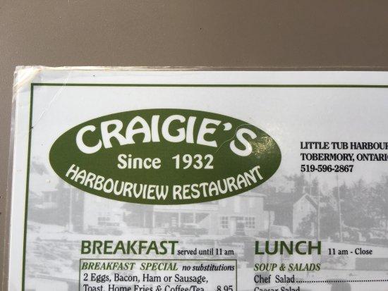 Craigie's Harborview Restaurant : Cragies Menu