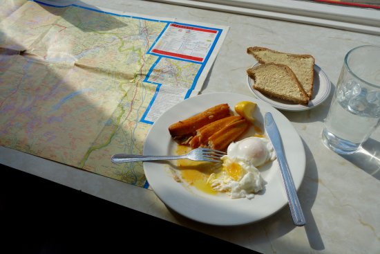 The Union Jack: My lunch of kippers on a motorbike trip to the Lakes.