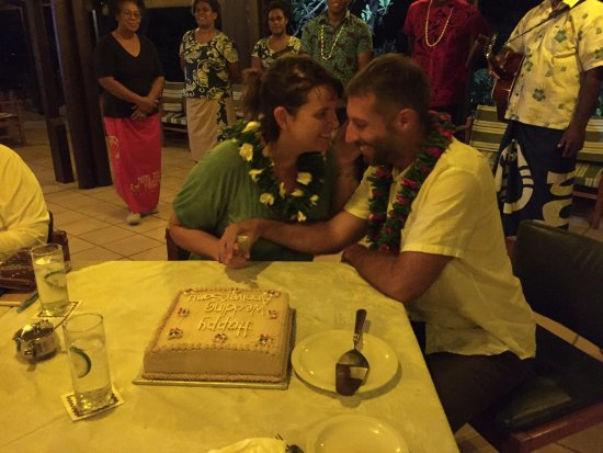 Navini Island, Fiji: The staff sang for us and made us a cake for our anniversary!