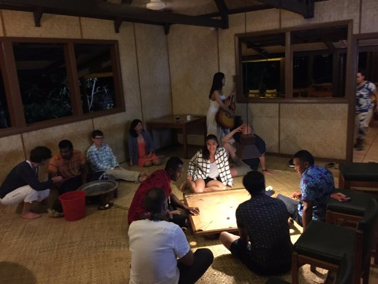 Navini Island, Fiji: after dinner games and kava