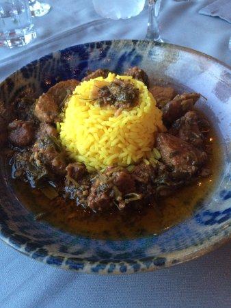 Marathias, Grécia: lamm och gris med ris