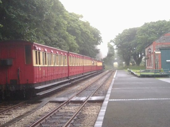 Isle of Man Bus and Rail: Waiting at crossing point at Castletown station