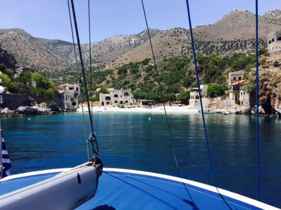 Sparta, Greece: Sailing into tiny vilage Alipa, in Mani.