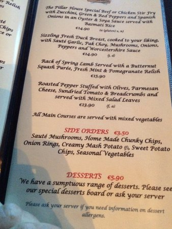 Ballinasloe, Irlanda: Sample Menu