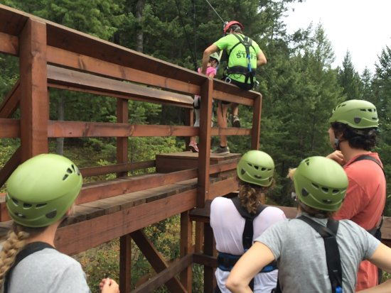 Oyama, Canada: Zipline course: Getting ready to go!