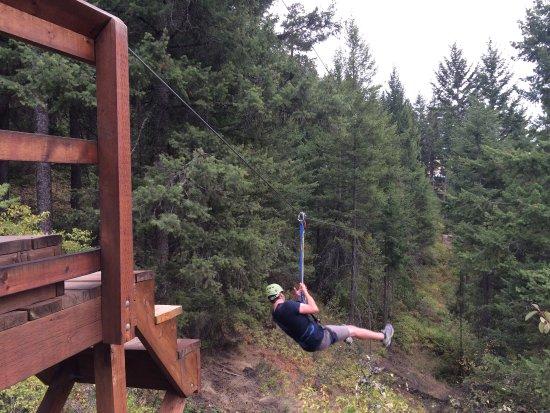 Oyama, แคนาดา: Zipline course.