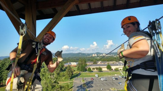 Asheville Zipline Canopy Adventures : This is at the highest point, overcoming her fear of heights!