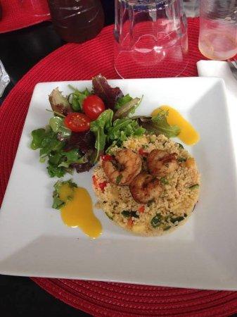 โซเฟียแอนติโปลิส, ฝรั่งเศส: Taboulé exotiques, petites gambas et vinaigrette à la mangue