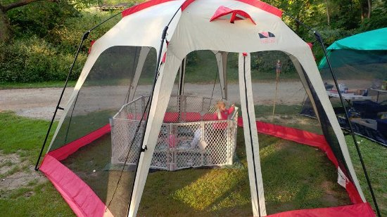 New River C&ground Dining canopy with playyard setup for baby girls 7-14 months & Camping cabins - Picture of New River Campground Sparta - TripAdvisor