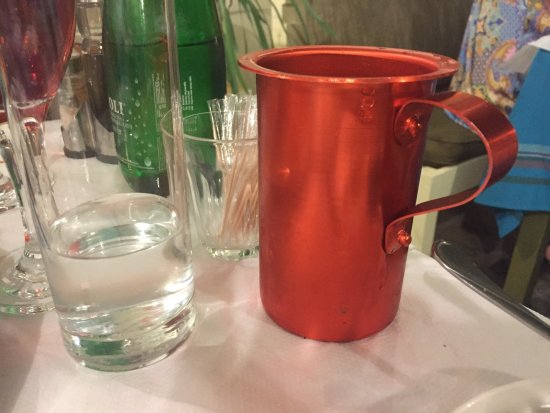The Muses: ½ litre of house wine served in metal jug - nice touch